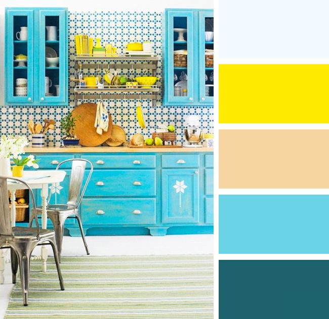 Кухня в желтых и голубых тонах