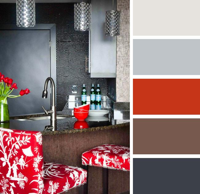 Кухня в красных и серых тонах
