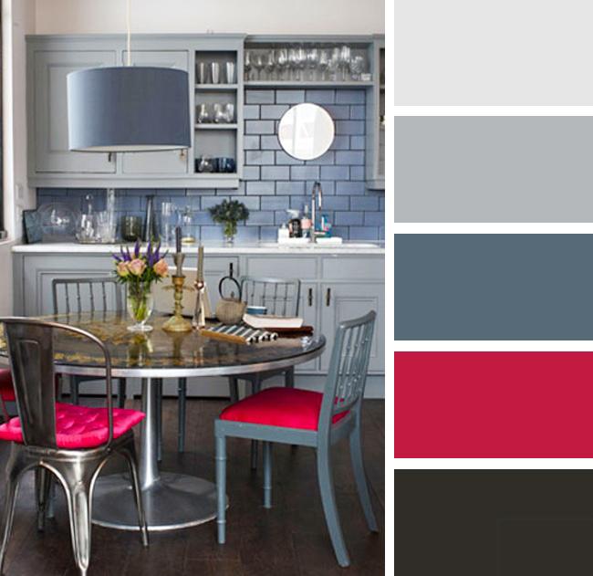 Кухня в серых и розовых тонах