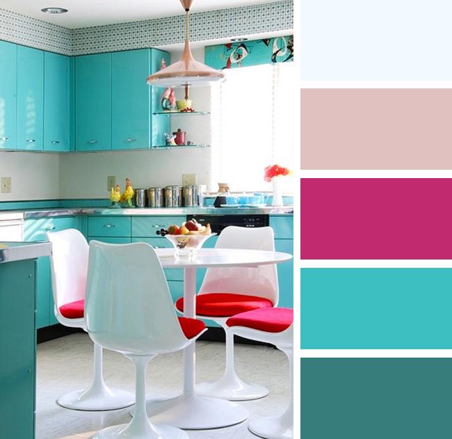 Кухня в голубых и розовых тонах