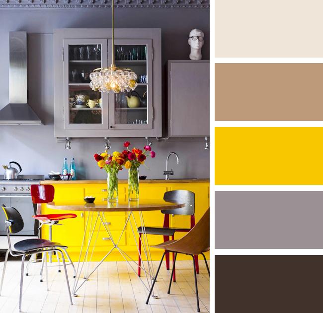 Кухня в серых и желтых тонах