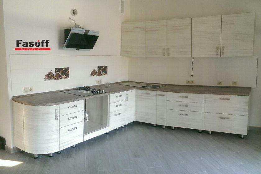 Кухня под заказ с фасадами МДФ пленочный Кантри Эдисан, столешницей Luxeform S958 и фурнитурой GTV Киев