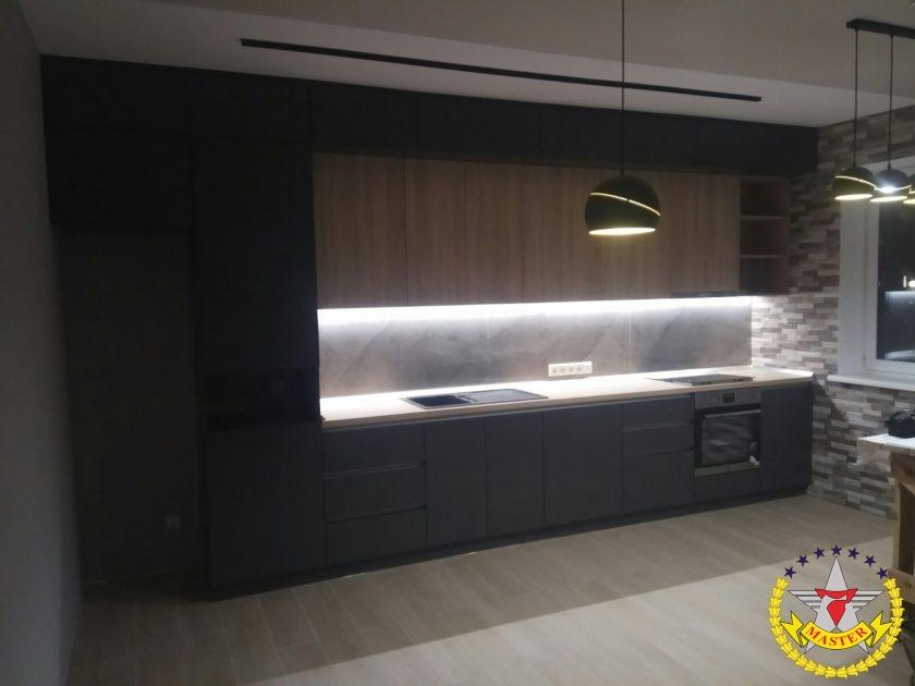 кухня в стиле лофт под потолок