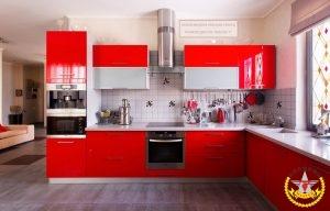 Кухня Модена Красная Глянцевая